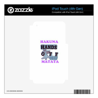 TGIF Hakuna Matata Hands Off Boo Funny Face Decal For iPod Touch 4G