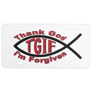 TGIF Thank God I'm Forgiven License Plate Cover