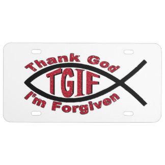 TGIF Thank God I'm Forgiven License Plate Cover License Plate