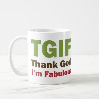 TGIF Thank God I'm Fabulous Classic White Coffee Mug