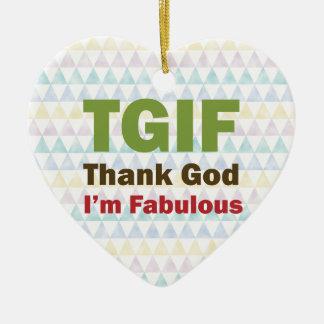 TGIF Thank God I'm Fabulous Double-Sided Heart Ceramic Christmas Ornament