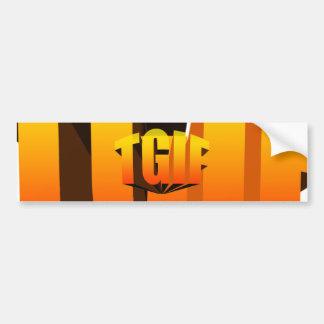 TGIF Yellow Rainbow Bumper Sticker