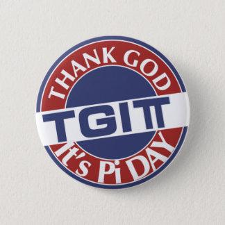 TGIPi  Thank God Its Pi Day 3.14 Red/Blue Logo Button