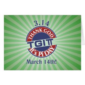 TGIPi  Thank God Its Pi Day 3.14 Red/Blue Logo Card