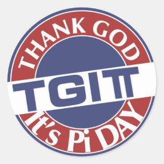 TGIPi  Thank God Its Pi Day 3.14 Red/Blue Logo Classic Round Sticker