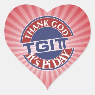 TGIPi  Thank God Its Pi Day 3.14 Red/Blue Logo Heart Sticker