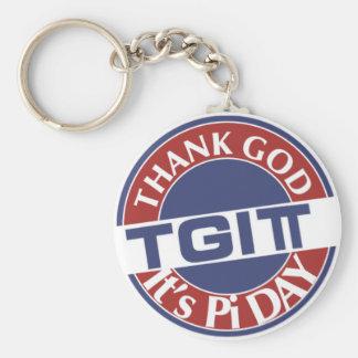 TGIPi  Thank God Its Pi Day 3.14 Red/Blue Logo Keychain