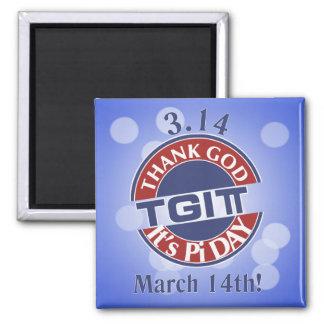 TGIPi  Thank God Its Pi Day 3.14 Red/Blue Logo Magnet