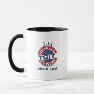 TGIPi  Thank God Its Pi Day 3.14 Red/Blue Logo Mug