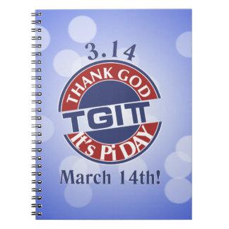 TGIPi  Thank God Its Pi Day 3.14 Red/Blue Logo Notebook