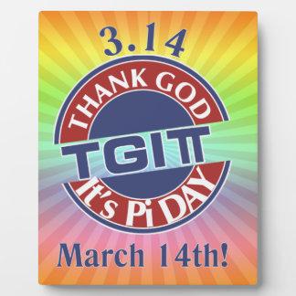 TGIPi  Thank God Its Pi Day 3.14 Red/Blue Logo Plaque