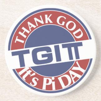 TGIPi  Thank God Its Pi Day 3.14 Red/Blue Logo Sandstone Coaster