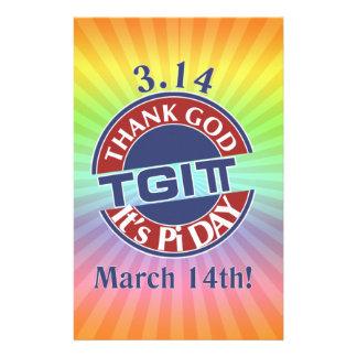 TGIPi  Thank God Its Pi Day 3.14 Red/Blue Logo Stationery