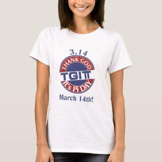 TGIPi  Thank God Its Pi Day 3.14 Red/Blue Logo T-Shirt