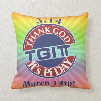 TGIPi  Thank God Its Pi Day 3.14 Red/Blue Logo Throw Pillow
