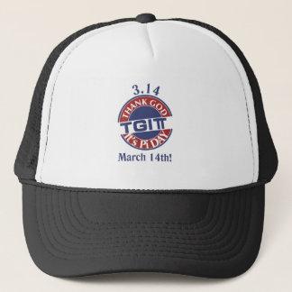 TGIPi  Thank God Its Pi Day 3.14 Red/Blue Logo Trucker Hat