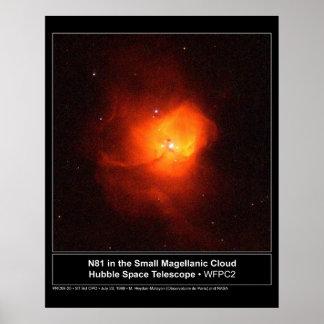 TGV N81 en la pequeña nube de Magellanic Póster