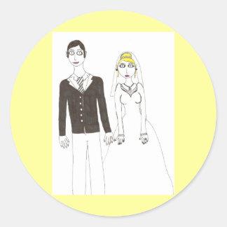 Th creepy wedding 2 round stickers