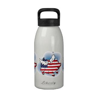 Th del 4-4 de julio de los cerdos patrióticos del  botella de agua