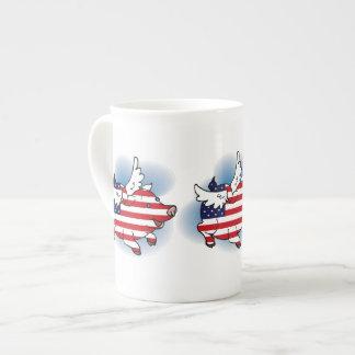 Th del 4-4 de julio de los cerdos patrióticos del  taza de porcelana