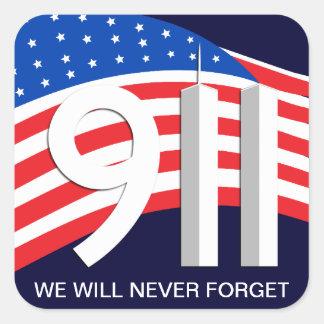 Th del 9 /11 de septiembre de 11 - nunca olvide a pegatinas cuadradas personalizadas