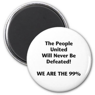 Th People United Will Never Be Defeated 2 Inch Round Magnet