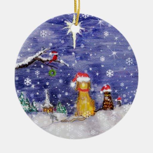 Tha Animals Christmas Art dog cat bird mouse churc Double-Sided Ceramic Round Christmas Ornament