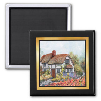 Thached Vintage Country Cottage Painting 2 Inch Square Magnet