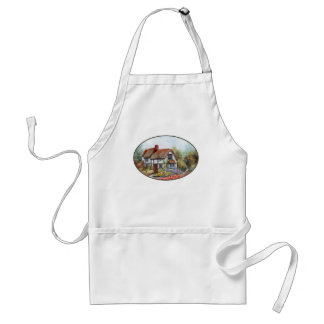 Thached Vintage Country Cottage Painting Adult Apron