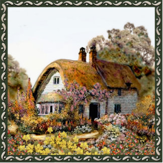 Thached Vintage Country Cottage Painting Cutout