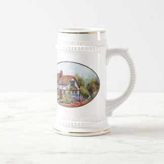 Thached Vintage Country Cottage Painting 18 Oz Beer Stein