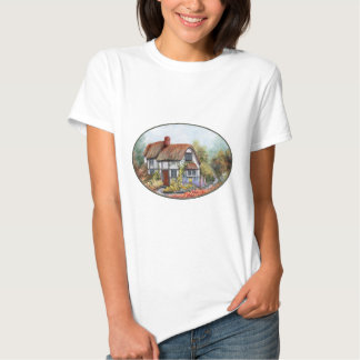 Thached Vintage Country Cottage Painting T-shirts