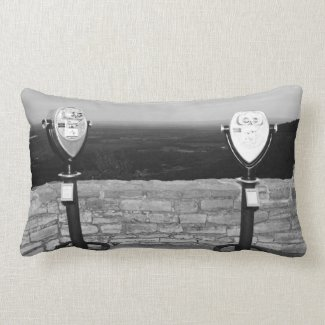 Thacher Park, NY Black and White Pillow