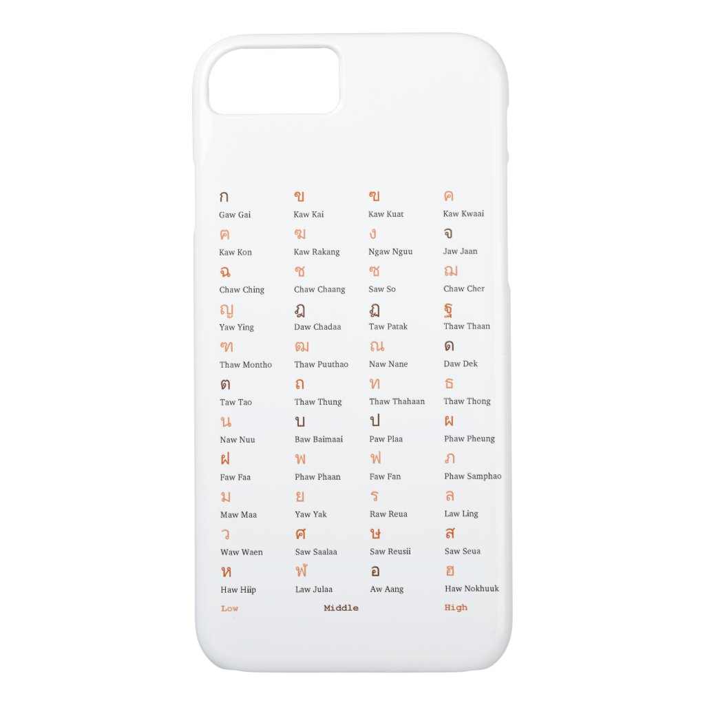 Thai Alphabet Consonant Class Phone Case