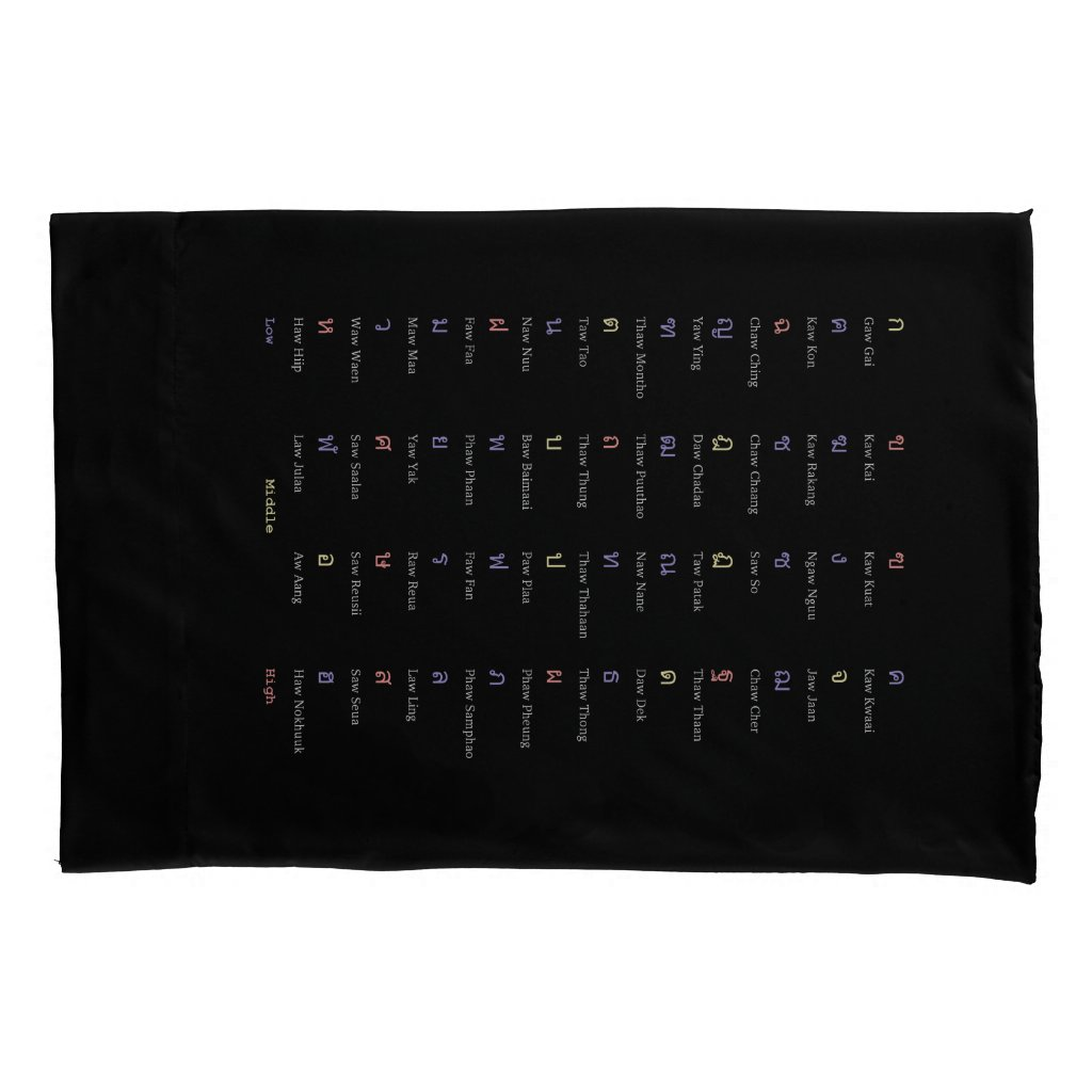 Thai Alphabet Consonant Class Pillow Case