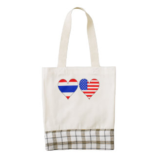 Thai American Hearts Zazzle HEART Tote Bag
