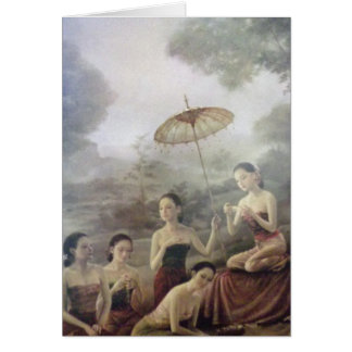 Thai antique style print greeting card