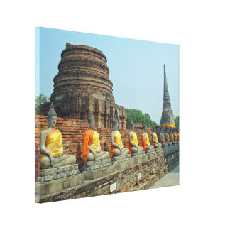 Thai Buddha Ayutthaya Thailand Wrapped Canvas Stretched Canvas Prints