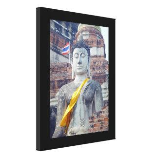 Thai Buddha Ayutthaya Thailand Wrapped Canvas Stretched Canvas Print