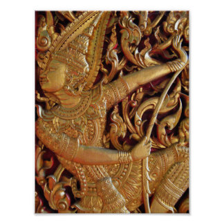 Thai Buddhist Temple Detail Poster
