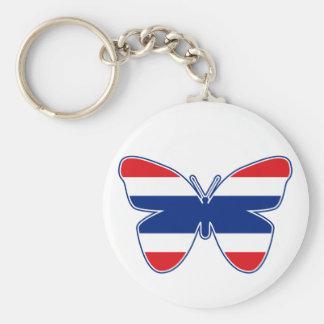 Thai Butterfly Flag Basic Round Button Keychain