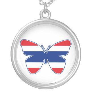 Thai Butterfly Flag Round Pendant Necklace