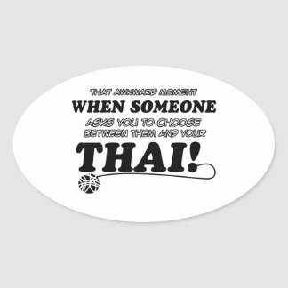Thai designs for Cat lovers Oval Stickers