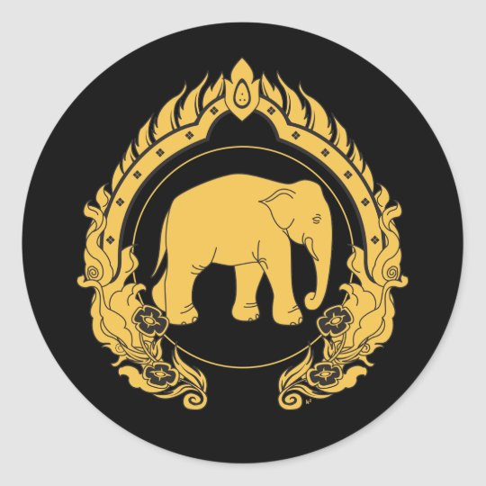 Thai Elephant Classic Round Sticker Zazzle