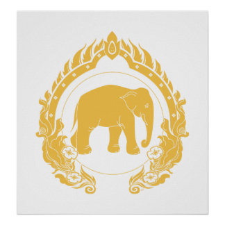 Thai Elephant (Gold) Poster