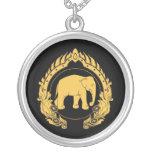 Thai Elephant Round Pendant Necklace