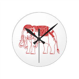 Thai Erawan White Elephant Round Wallclocks