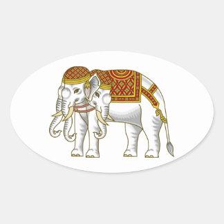 Thai Erawan White Elephant Oval Sticker