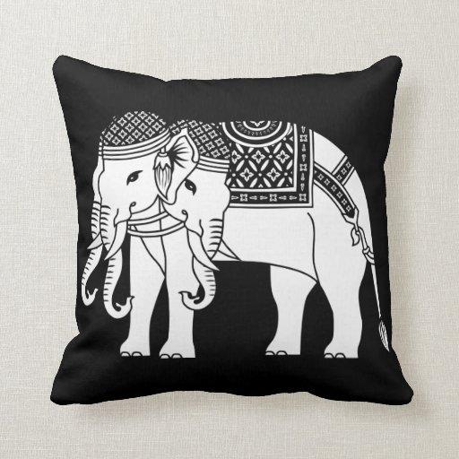 Thai Erawan White Elephant Pillow