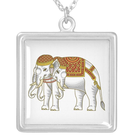 Thai Erawan White Elephant Silver Plated Necklace
